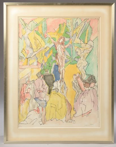 Jacques VILLON (1875-1963). Christ en croix....