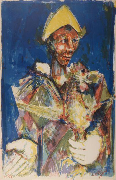 Bernard LORJOU (1908-1986). Homme au chapeau...