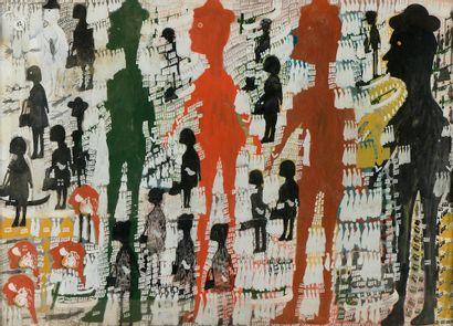 Carlo ZINELLI (1916-1974). Sans titre. Gouache sur papier (mouillures). Haut. :...
