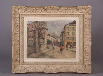 École moderne. Ruelle de Montmartre. Huile...
