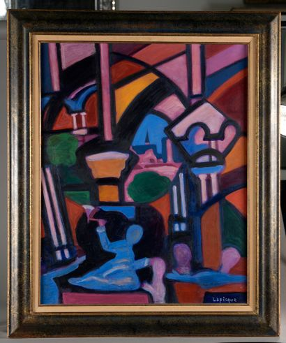 """Charles LAPICQUE (Theizé, 1898 - Orsay, 1988). """"Laon Cathedral"""". Oil on canvas signed..."""
