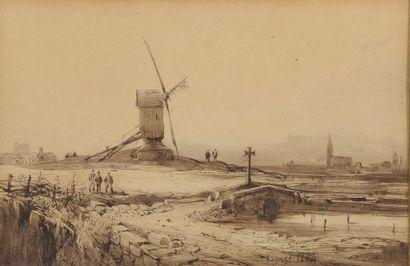 *A. HOGARD (XIXe siècle).  Moulin en Hollande....