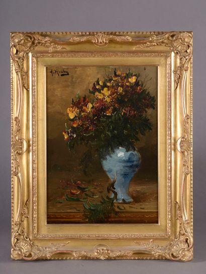 Alfred ROUBY (1849-1909).  Bouquet de chrysanthèmes...