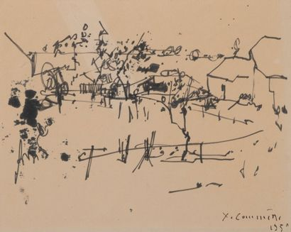 Jean-Yves COMMÈRE (1920-1986).  Le village....