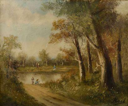 KOCK (XXe siècle).  Paysage animé au lac....
