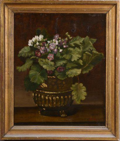 *ROUBY (XIXe- XXe siècle).  Fleurs dans une...