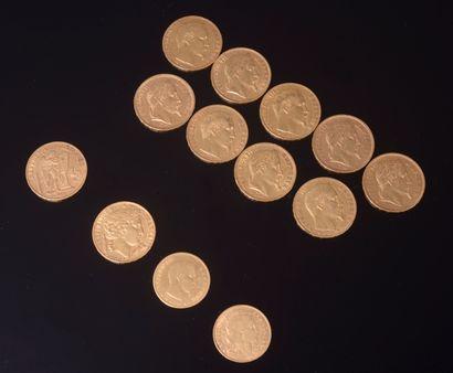 Ensemble de treize pièces en or comprenant:...