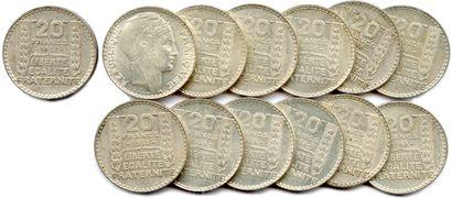 Lot de 13 pièces de 20 Francs argent de...