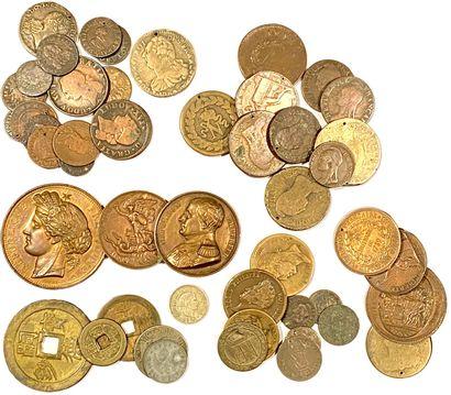 Lot en vrac de monnaies diverses en cuivre...
