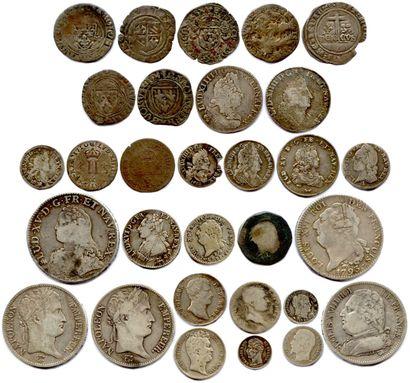 Lot de 30 monnaies françaises en argent...