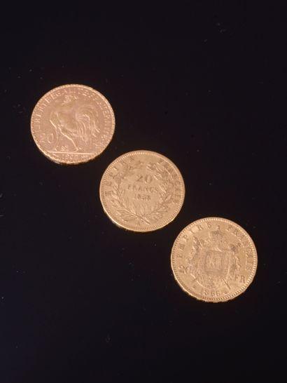 Ensemble de trois 20 Francs français en...