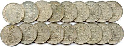 Lot de 18 pièces de 20 Francs argent du...