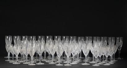 *BACCARAT.  Partie de service de verres modèle...