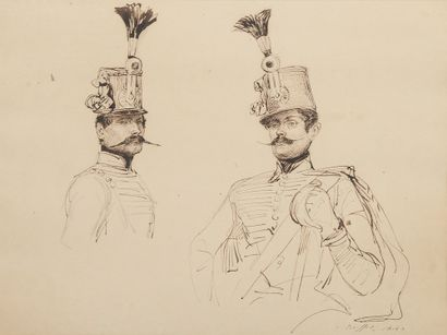 Auguste RAFFET (1804-1860).  Étude de soldats....