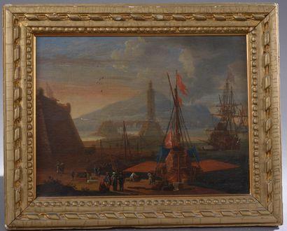 École du nord du XIXe siècle.  Scène portuaire....