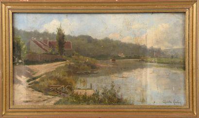 Charles HUTIN (1847-1898).  Ferme au lac....