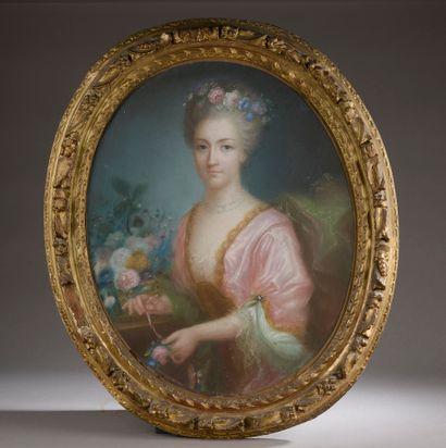 École du XIXe siècle.  Portrait d'une dame...
