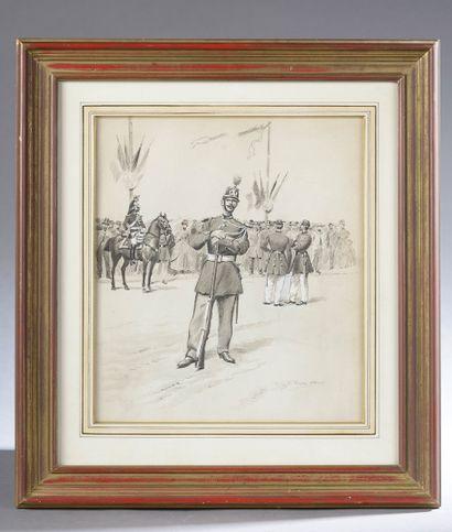 Charles MOREL (1861-1908).  Militaire posant...