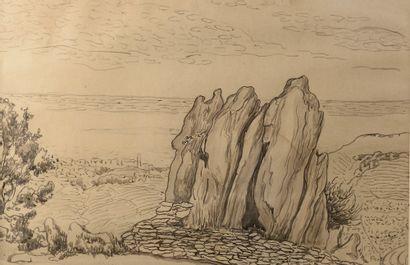 Jean PESKÉ (1870-1949).  Côte rocheuse.  Encre...