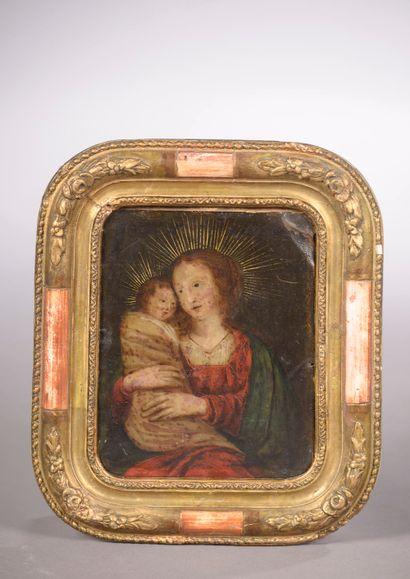 École du XVIIIe siècle.  Vierge à l'Enfant....