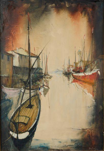 Bernard LIGNON (né en 1928).  Port de pêche....