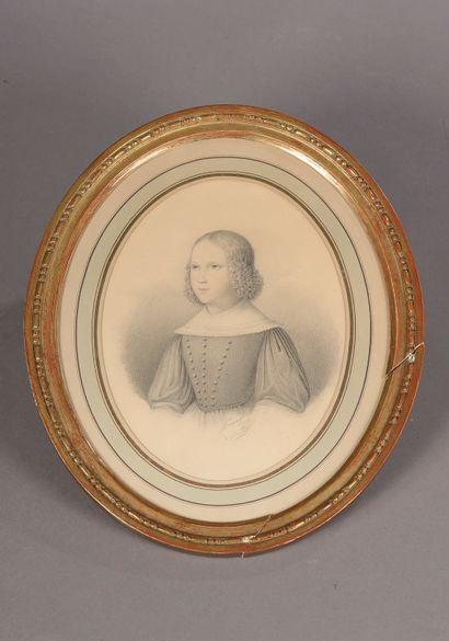 École du XIXe siècle.  Portrait d'une jeune...