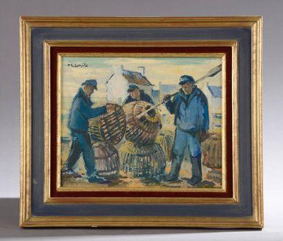Claude THIBERVILLE (né en 1926).  Les pêcheurs...