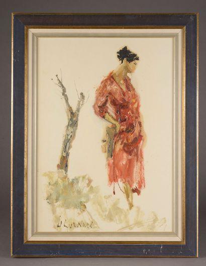 Jean LE GENNEC (1924-1988).  Femme à la robe...
