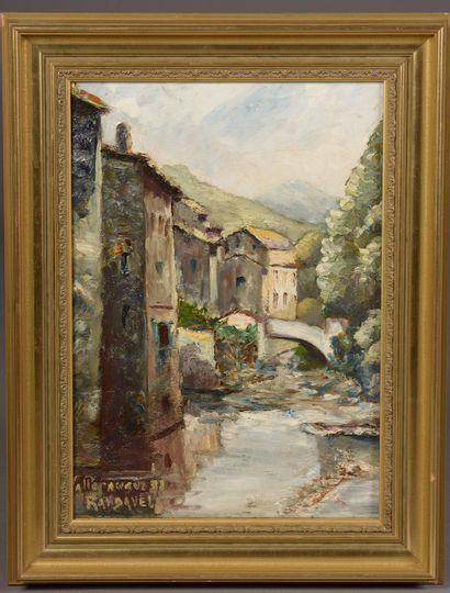 Louis RANDAVEL (1869 - 1947).  Village dans...