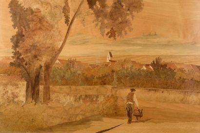 Charles SPINDLER (1865-1938).  Paysage au...