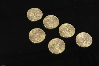 Ensemble de six pièces de 50 pesos mexicaines...