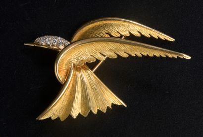 Broche en or jaune 18k en forme d'oiseau,...
