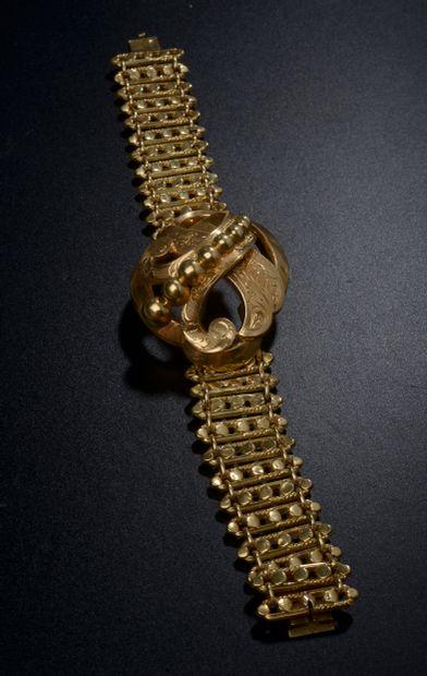 Bracelet en or jaune 18k à maillons pastillés...