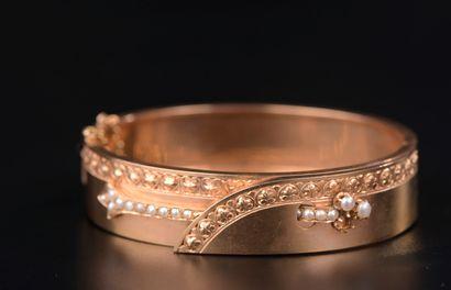 Bracelet jonc en or rose 18k bordé d'une...