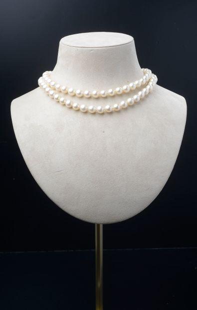 Collier de quatre-vingt cinq perles de culture...