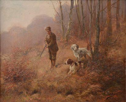 Eugène PETIT (1839-1886).  Chasseur accompagné...