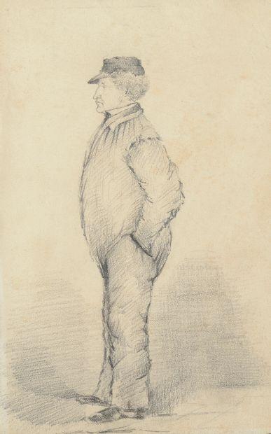 École du XIXe siècle.  Portrait d'homme debout...