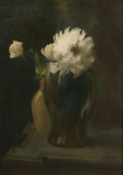 Henri Julien DUMONT (1859-1921).  Deux vases...