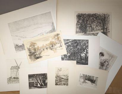 Ensemble de dix-neuf gravures en noir comprenant...