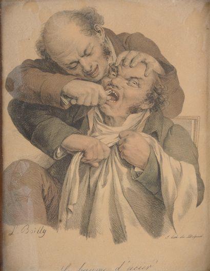 D'après REMBRANDT.  Les médecins et le vieillard....