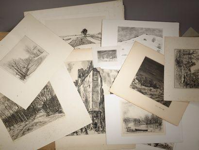 Ensemble de vingt gravures en noir comprenant...