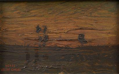 Fleury CHENU (1833-1875).  Paysage aux arbres...