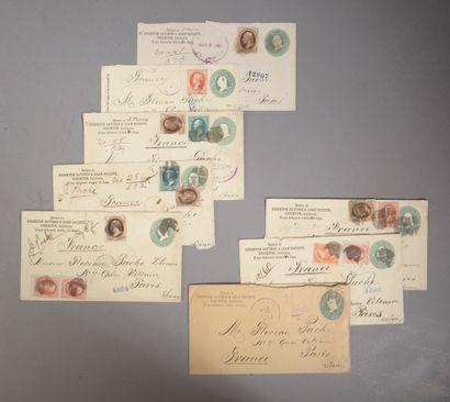 Ensemble de sept enveloppes timbrées de 1882...