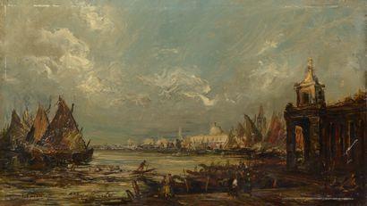 École du XIXe siècle.  Venise.  Huile sur...