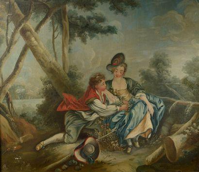 Dans le goût du XVIIIe siècle.  Scène galante....