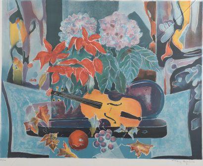 Tony AGOSTINI (1916-1990).  Nature morte...