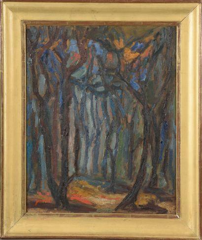 Georges GIMEL (1898-1962).  Forêt en hiver....