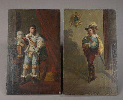 Ecole française du XIXe siècle .  Deux mousquetaires....