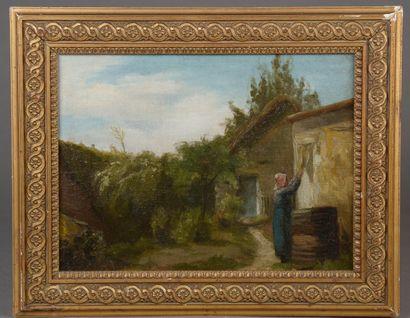 École française du XIXe siècle.  La lavandière....