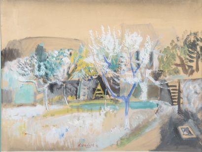 Rudolf KUNDERA (1911-2005).  Arbres en fleur...